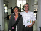 Katharina from Germany and Emil in the Sofia airport