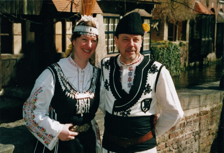 Hand made Bulgarian costumes after a performance in Bruges, Belgium.